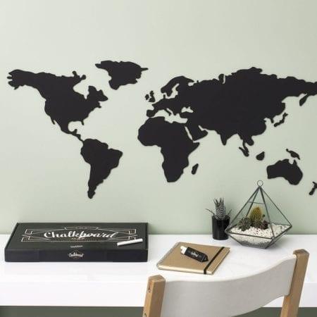 mapa świata kredowa czarna do pisania